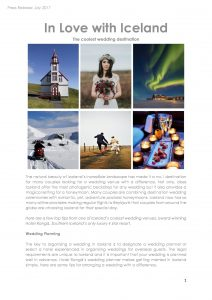 Press Release – In Love with Iceland